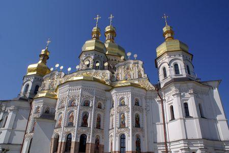 White church with golden top ibn monastery Lavra, Kiev Stock Photo - 4867505