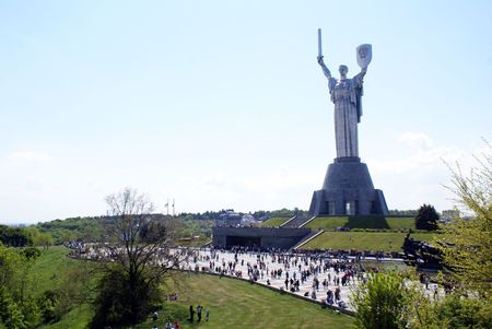 Woman with sword on the top of hill in Kiev, Ukraine