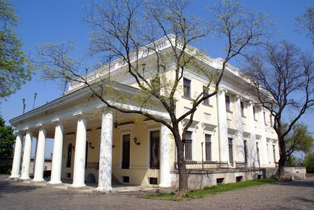 odessa: White house with columns in Odessa, Ukraine         Stock Photo