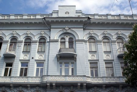 odessa: White house with balconies on the street in Odessa