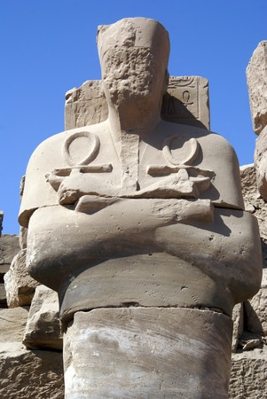 Big statue and ruins of Karnak temple in Luxor, Egypt                  photo