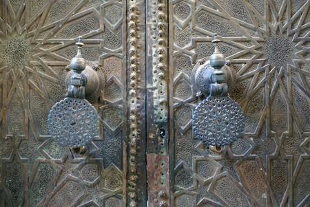 Big old bronze door in Fez, Morocco                 photo