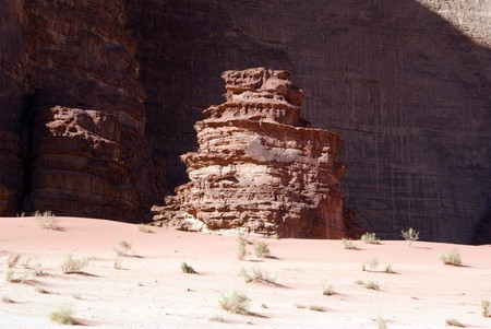Rock formations and sand in Wadi Rum, Jordan                    Stock Photo - 7574214