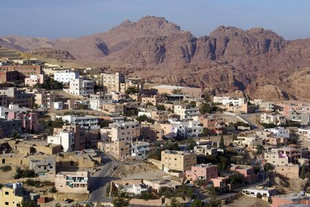 wadi: Town Wadi Musa near ruins of Petra in Jordan