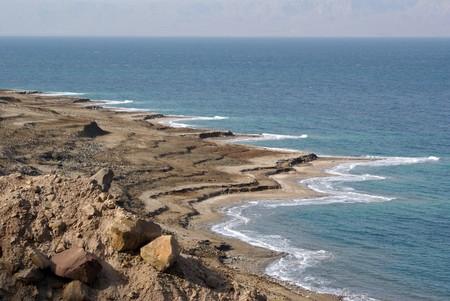 hydrochloric: View on the Dead sea from Jordan coast
