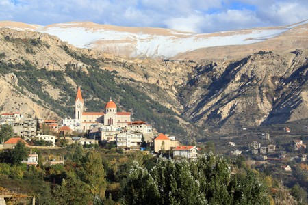Mount, snow and town Bcharre in Lebanon