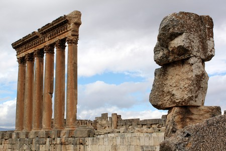 heliopolis: Big stones and columns of temple in Baalbeck, Lebanon Stock Photo