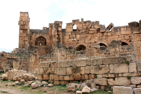 heliopolis: Ruins of old roman temple in Baalbeck, Lebanon