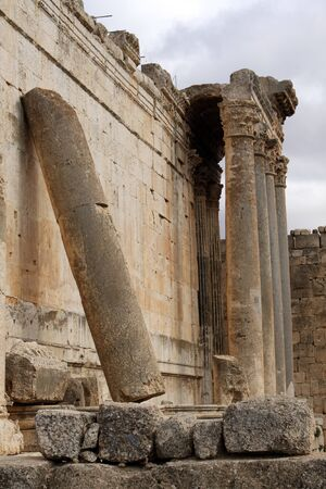 bacchus: Big columns of Bacchus temple in Baalbeck, Lebanon Stock Photo