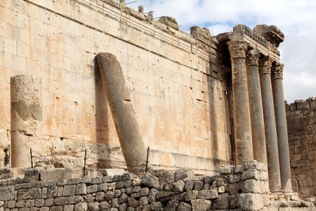 bacchus: Wall and columns of Bacchus temple in Baalbeck, Lebanon