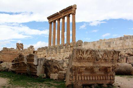 Ruins and pillars inside roman temple in Baalbeck, Lebanon