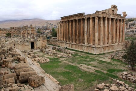 Baahus temple and ruins in Baalbeck, Lebanon Stock Photo