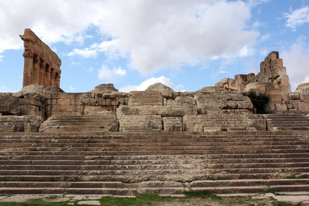 heliopolis: Staircase and columns in Baalbeck temple in Lebanon