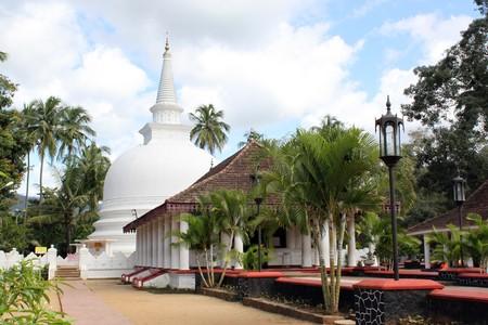 Buddhist monastery with white stupa in Badella, Sri Lanka