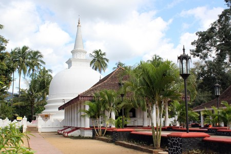Buddhist monastery with white stupa in Badella, Sri Lanka