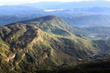 View on the mountain from top of Adams Peak in Sri Lanka photo