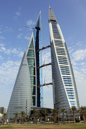 Bahrain: Skyscrepper in the center of Manama city, Bahrein Stock Photo