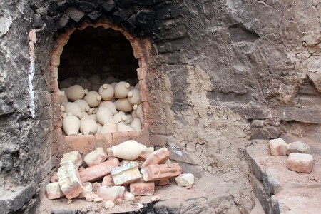 ceramicist: Oven with pottery in factory near Manama city, Bahrein