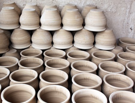 ceramicist: Pottery on sell in small shop in Bahrein