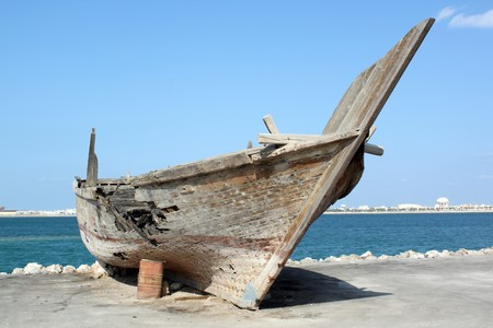 Bahrain: Big wooden boat on the coast in Manama city, Bahrein Stock Photo