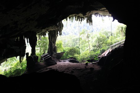 Entrance of big cave in Niah national park in Borneo, Malaysia Stock Photo