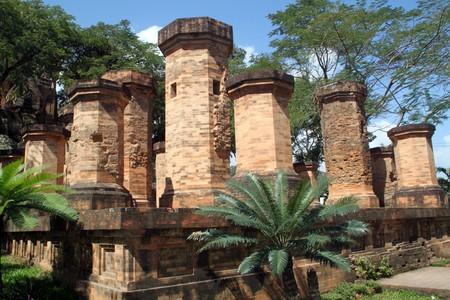 Brick columns of cham temple in Nha Trang, Vietnam photo
