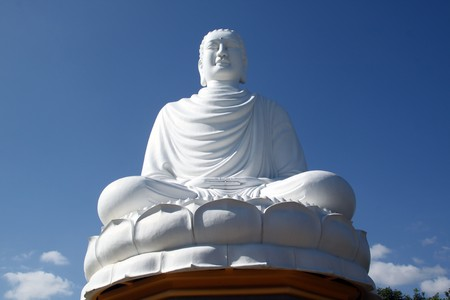 samsara: White sitting on the lotus Buddha in Nha Trang, Vietnam