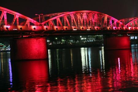 hue: Perfume river and bridge in Hue at night, Vietnam