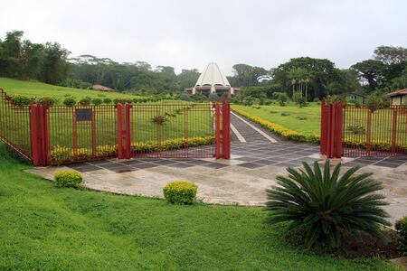 bahaullah: Garden and entrance of bahai temple in Samoa