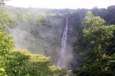 samoa: Mist and wayerfall in mountain area of Upolu island, Samoa Stock Photo
