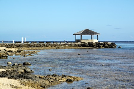 fale: New building on the beach in Fiji