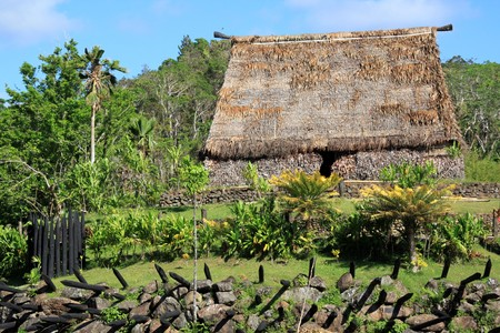 paling: Old traditional house on the hill and paling, Fiji Stock Photo