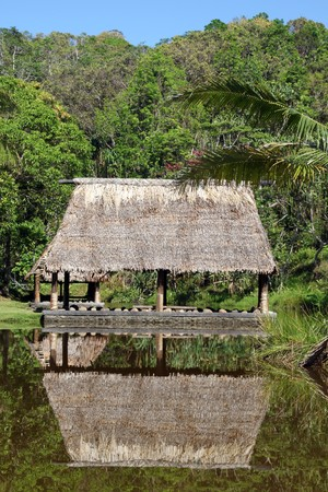 Traditional hut and reflection on the water, Fiji photo