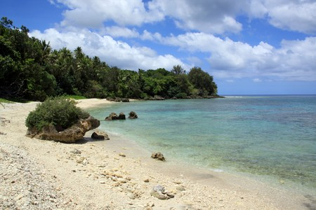 vanuatu: White beach on the island Efate in Vanuatu Stock Photo