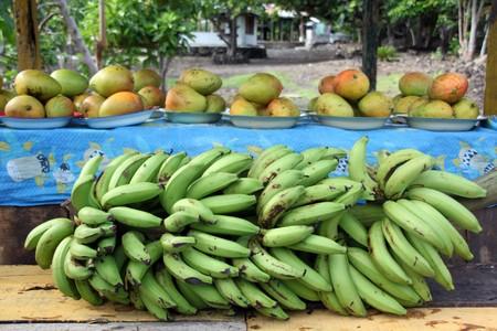 samoa: Tropical fruits on the stall near the road in Savaii, Samoa Stock Photo