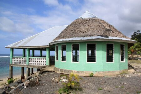 fale: New building on the sea coast in Upolu, Samoa