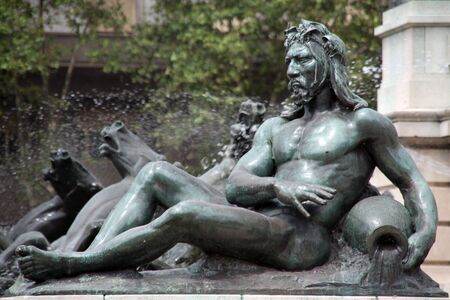 neptun: Statue og greek god Neptun on the fountain near Congress in Buenos Aires