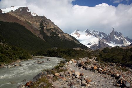 Footpath near the river in national park, Chalten, Argentina photo