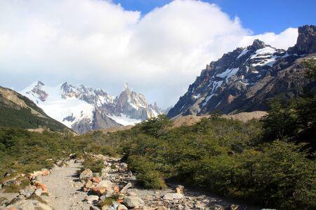 chalten: Footpath near mountain in national park near El Chalten, Argentina