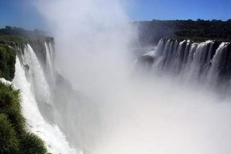 Mist, grass and water in Iguazu falls, Argentina photo