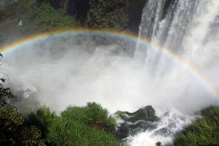 Green grass, rainbow and Iguazu waterfall in Argentina photo