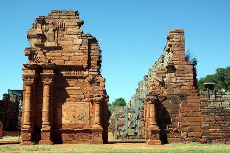 Facade of big missuion church in San Ignasio, Argentina Stock Photo - 7640588