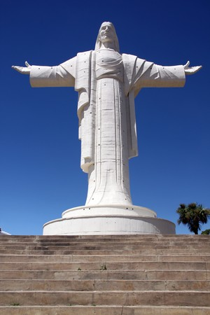 Staircase and statue of Jesus Christ in Cochabamba, Bolivia  photo