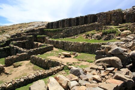 Inca stone ruins on the island Isla del Sol, Bolivia