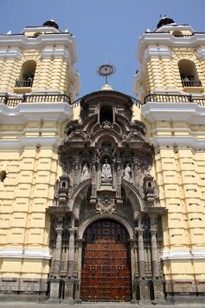 Facade of church San Fransisco in Lima, Peru photo