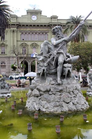 neptun: Statue of Neptun on the fountain in Riobamba, Ecuador Stock Photo