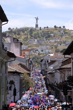 Croud on the Easter carnival street in Quito in Ecuador