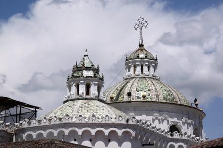 quito: Top of white church in the center of Quito, Ecuador Stock Photo