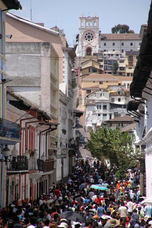 croud: Croud on the street in the center of Quito in Ecuador