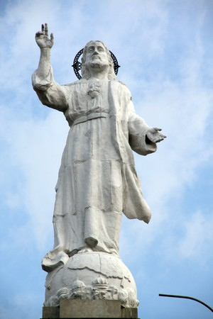 White statue on the top of hill in Cucuta, Colombia photo